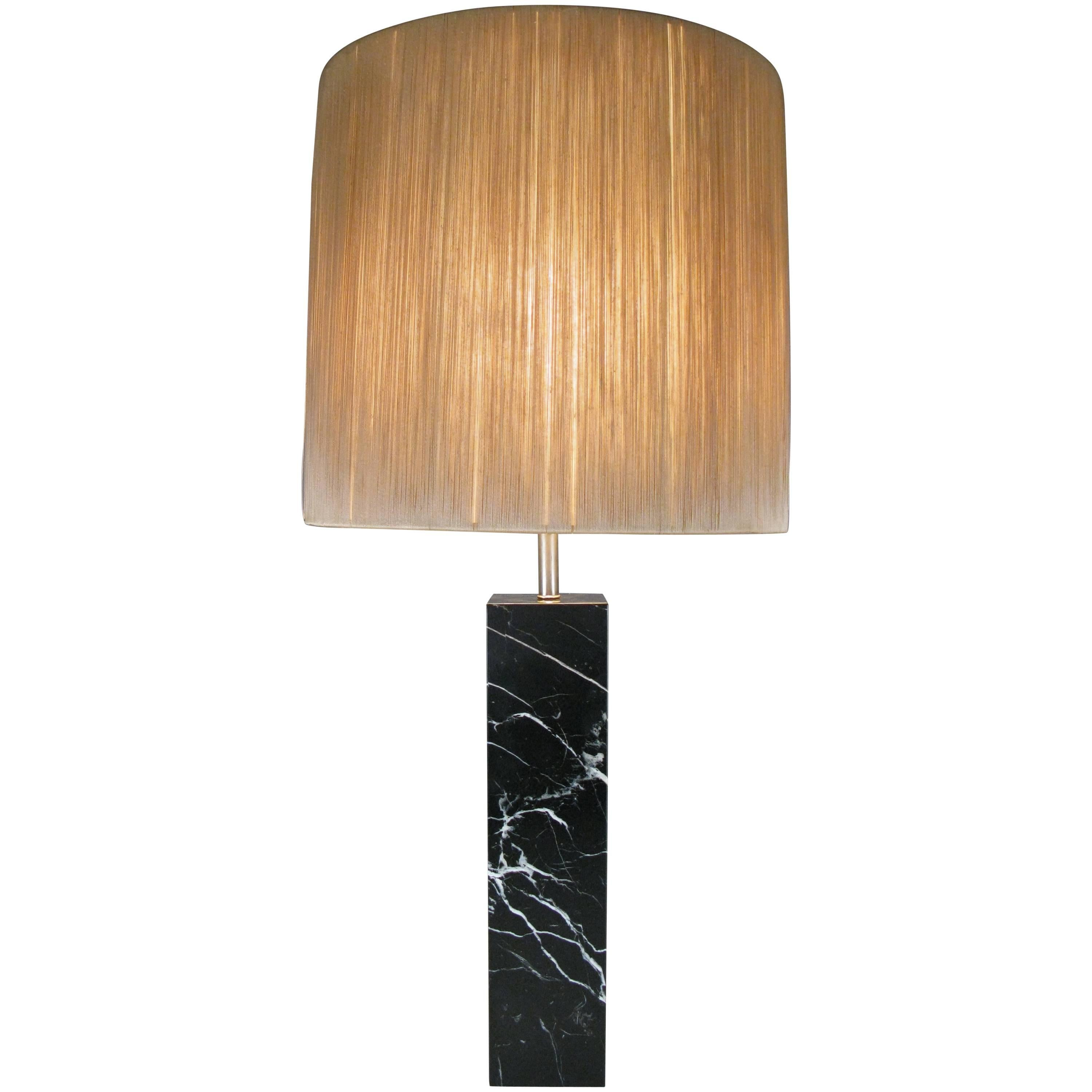 Classic 1950s Black Marble Table Lamp For Sale