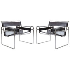 Wassily Chairs in Brown Leather by Marcel Breuer for Gavina
