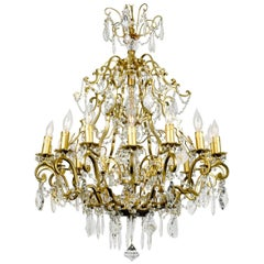 Vintage French Cut Crystal/Brass frame Sixteen Arms Chandelier
