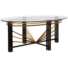 Extraordinary Steel Faux Bamboo and Brass Coffee Table, circa 1970