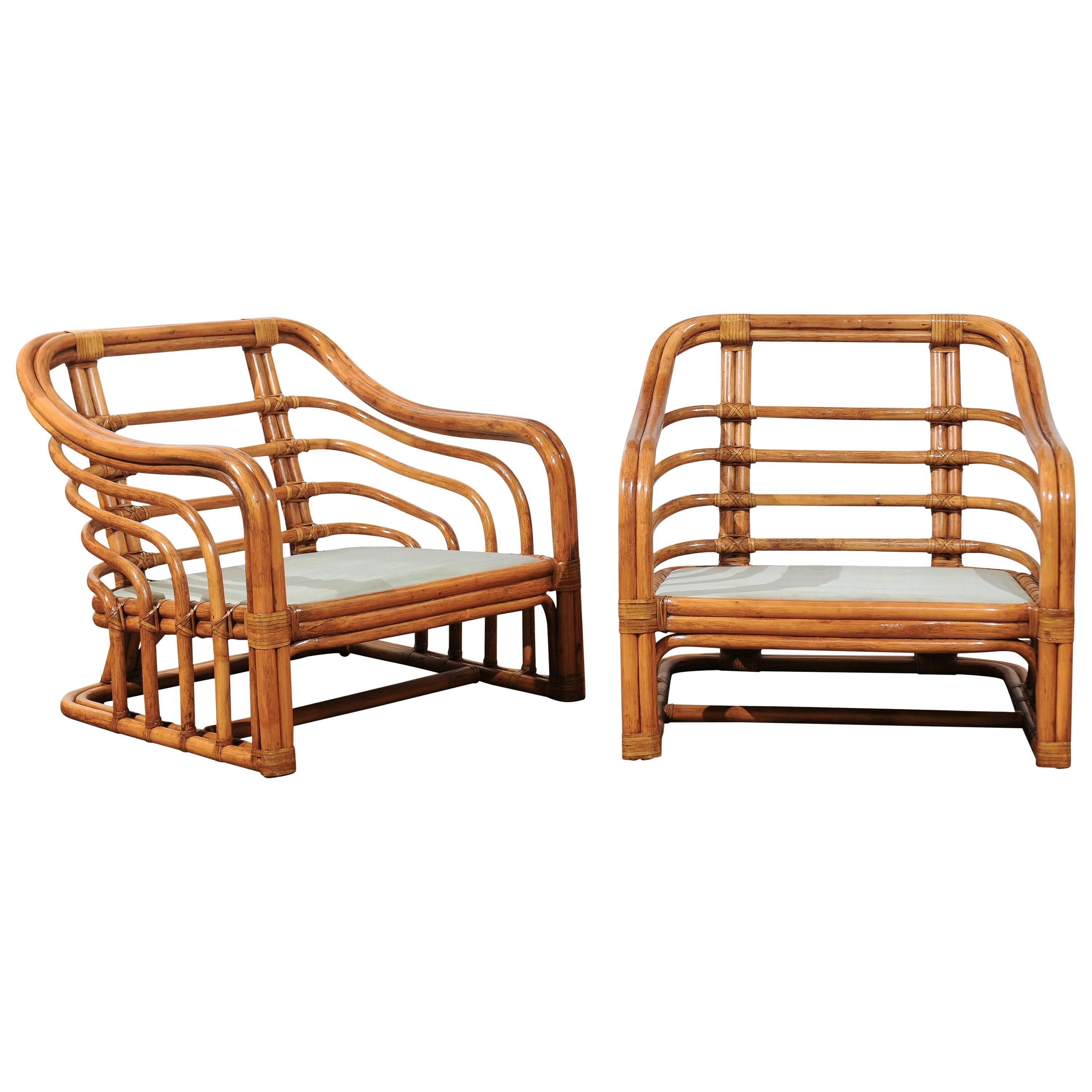 Decorative Restored Pair Of Club Chairs By Brown Jordan, Circa 1980 1