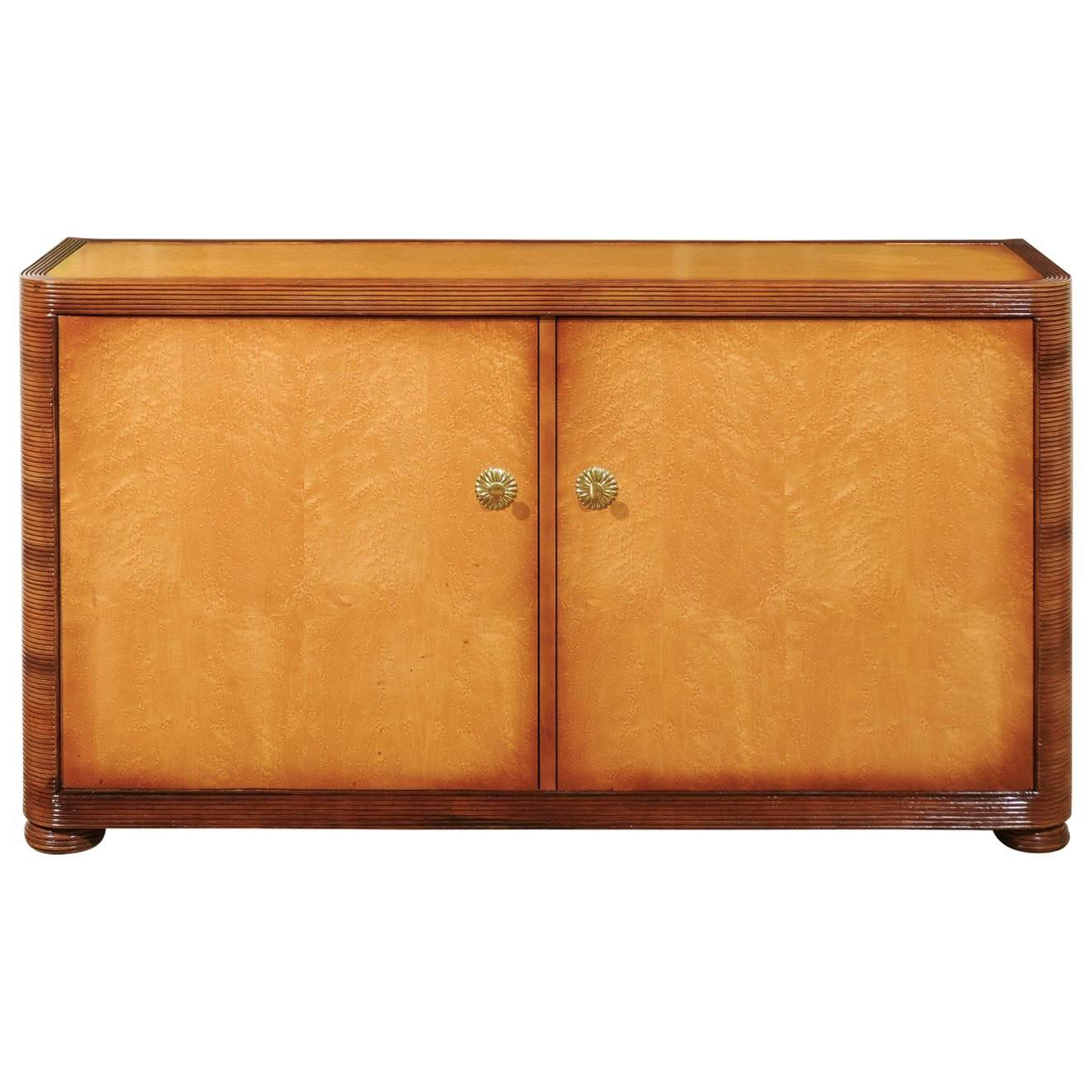 Unbelievable Restored Bamboo and Birdseye Maple Cabinet by Baker, circa 1980
