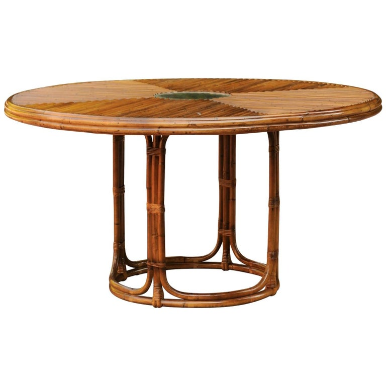 Breathtaking Vintage Bamboo and Rattan Center or Dining Table, circa 1975