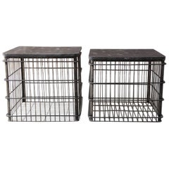 Pair of Metal Industrial Style Shipping Bin Side Tables
