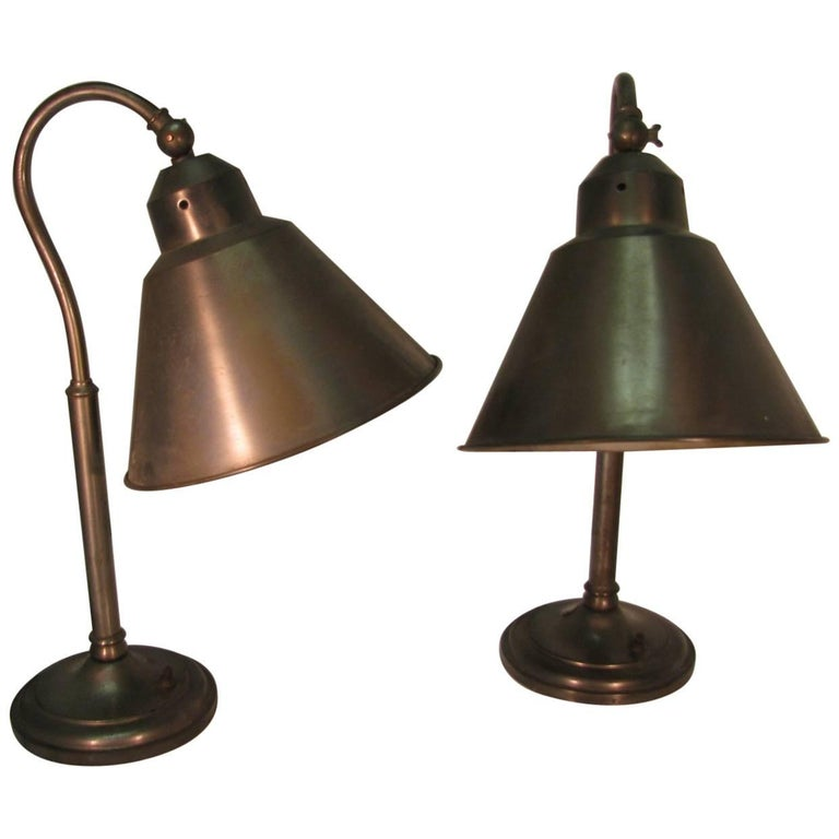 Pair of Mid-Century Steel Desk Table Lamps For Sale