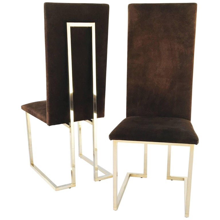 Set of Two Willy Rizzo Style Dining Chairs