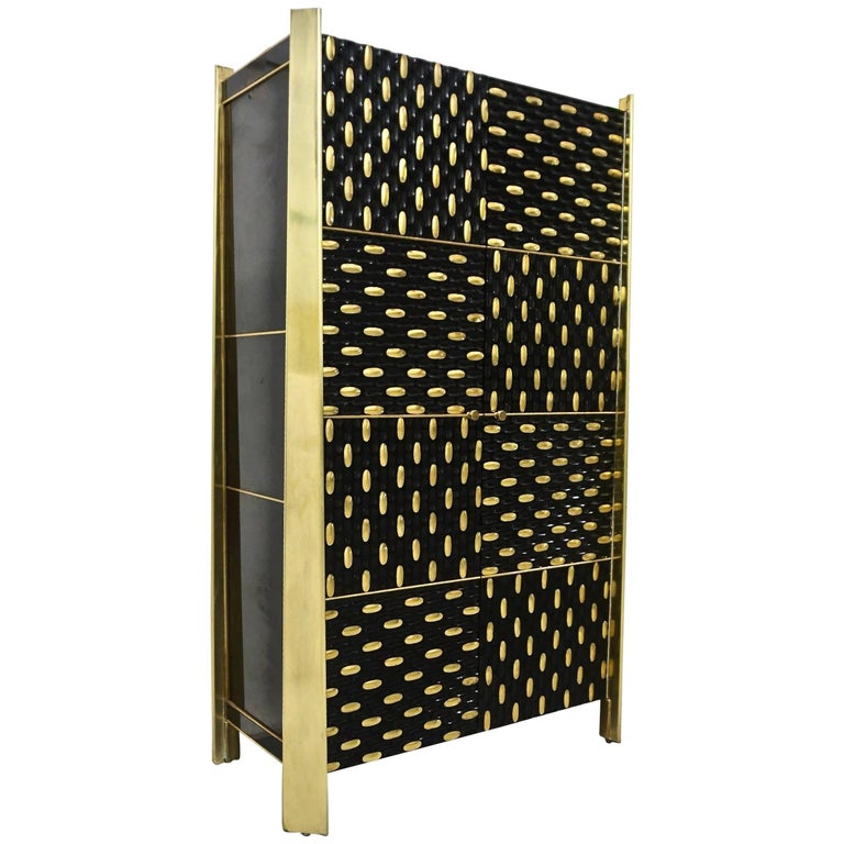 1980s Unique Italian Black Lacquered and Gold Brass Tapered Cabinet Bar