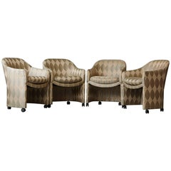 Set of Four Barrel Dining Armchairs on Casters, Milo Baughman for Thayer Coggin