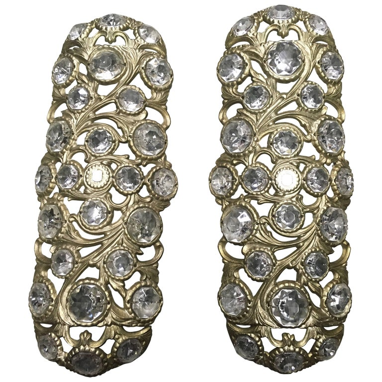 Pair of 1970s Italian Bronze Sconces Embellished with Crystals