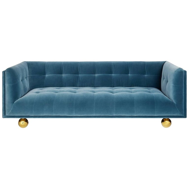 claridge modern chesterfield sofa in french blue velvet at 1stdibs. Black Bedroom Furniture Sets. Home Design Ideas