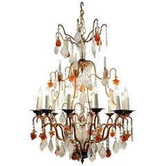 Vintage Venetian Murano Crystal Fruit Design Chandelier