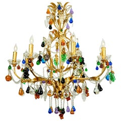 Vintage Venetian Crystal Fruits Design Chandelier