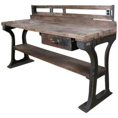 Antique 1940s Cast Iron Industrial Workbench Island