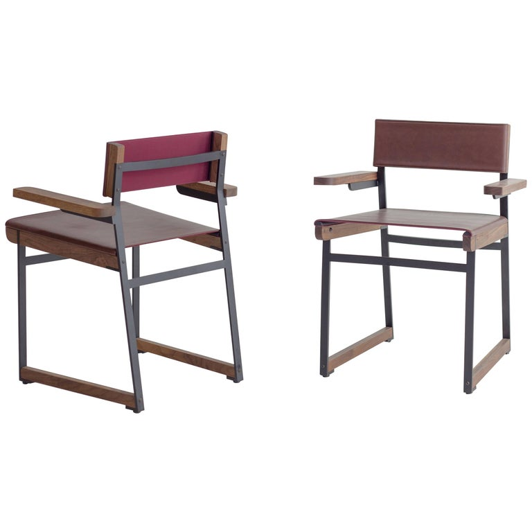 Diego Armchair in Leather, American Hardwood and Steel
