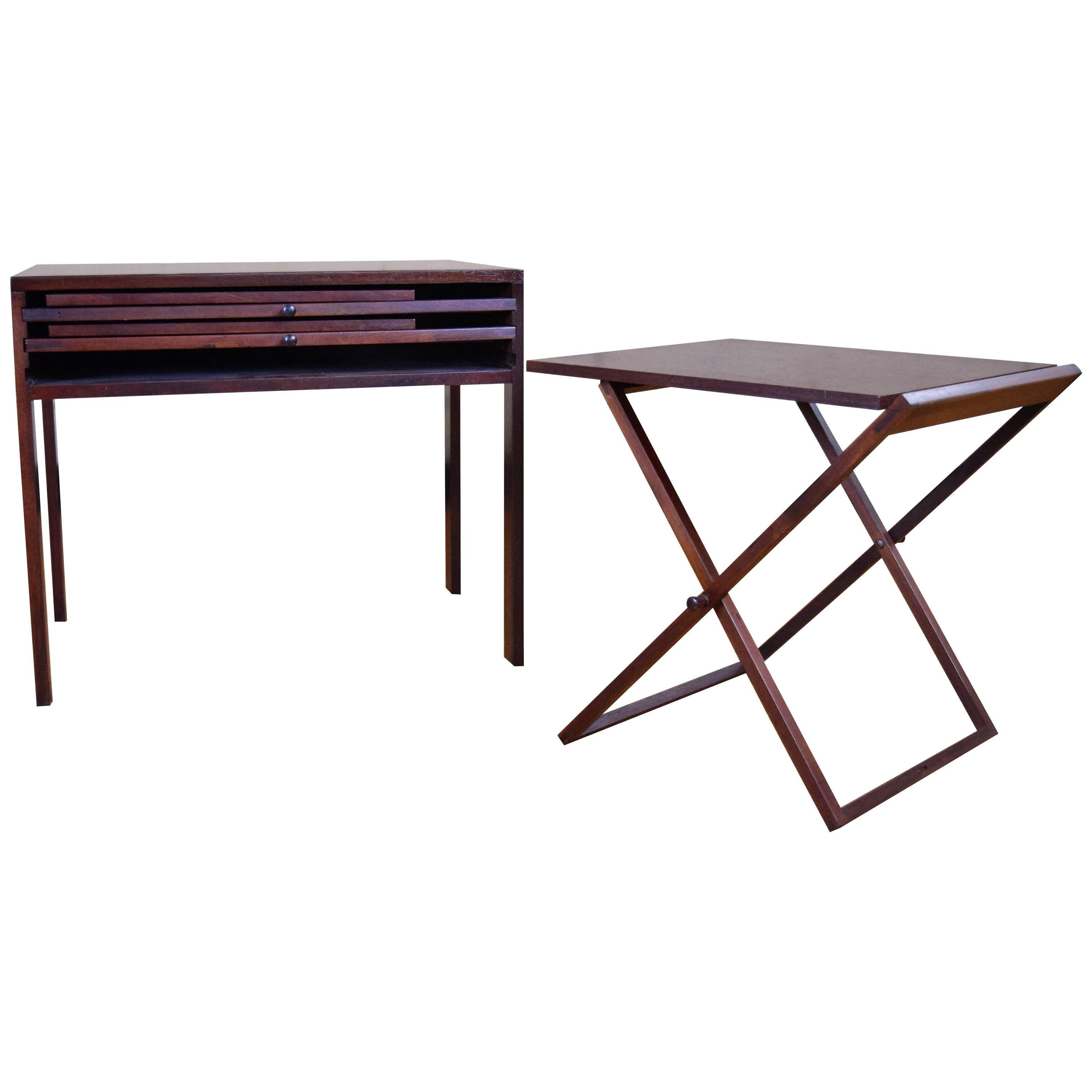 Illum Wikkelso Danish Modern Folding Table Tray Set In Rosewood And Teak