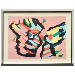 "Karel Appel ""Lying in Color 'Pink Cat'"" 1979, Signed, Framed in Chrome"