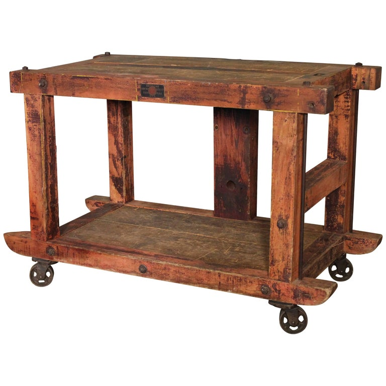 Rolling Kitchen Island Table Or Cart Rustic Vintage Wood Metal And Cast Iron At 1stdibs