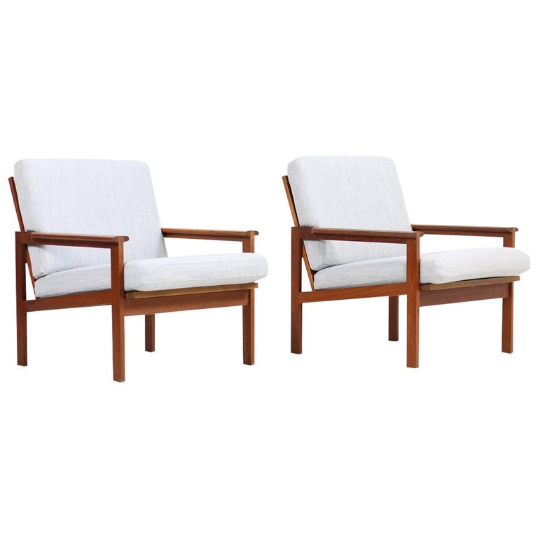 1960s Illum Wikkelso Danish Teak Lounge Easy Chairs Model Capella Niels Eilersen