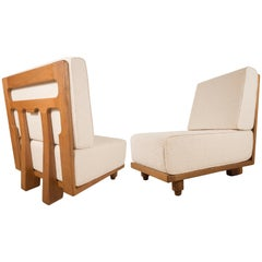 Pair of Slipper Chairs by Guillerme & Chambron, France, circa 1950