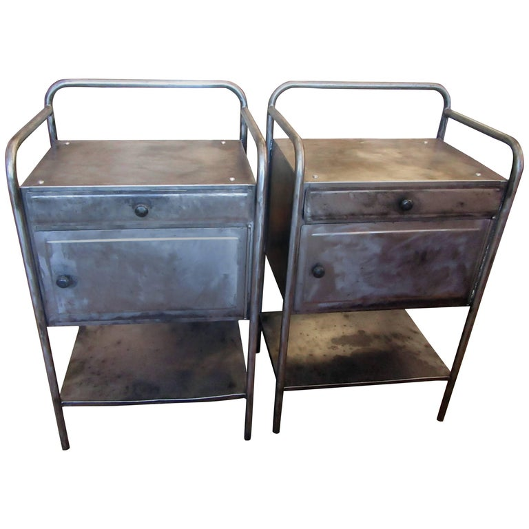 Pair of Vintage French Industrial Steel Nightstands or Side Tables