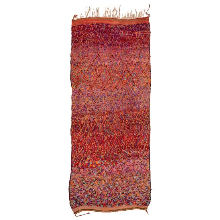 Mid Century Vintage Ait Bou Ichaouen Moroccan Rug 6.5 x16
