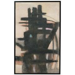 """Linear Marine"" Mid-Century Modern Vintage Abstract Painting"