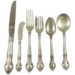 English Gadroon by Gorham Sterling Silver Flatware Set Service 82 Pieces