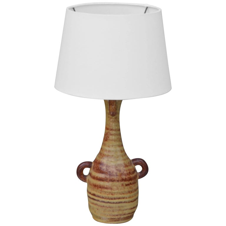Chic French Gourd-Shaped Glazed Ceramic Lamp by Accolay Pottery, France