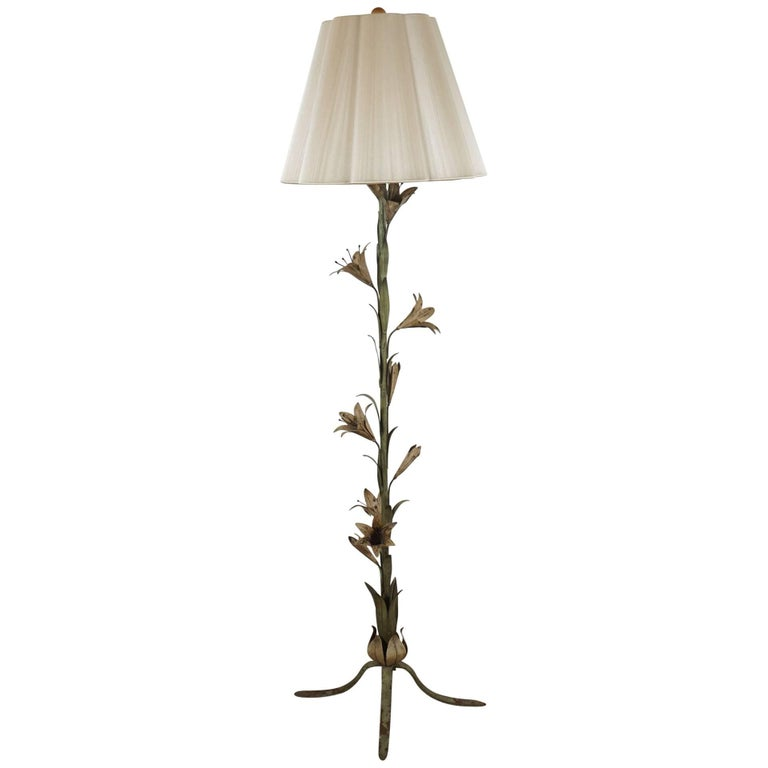Tole Standing Lamp with Flower Motif