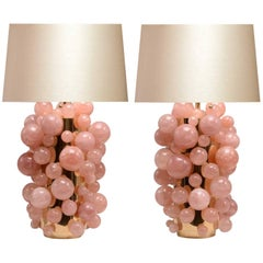 Pair of Pink Rock Crystal Bubble Lamps