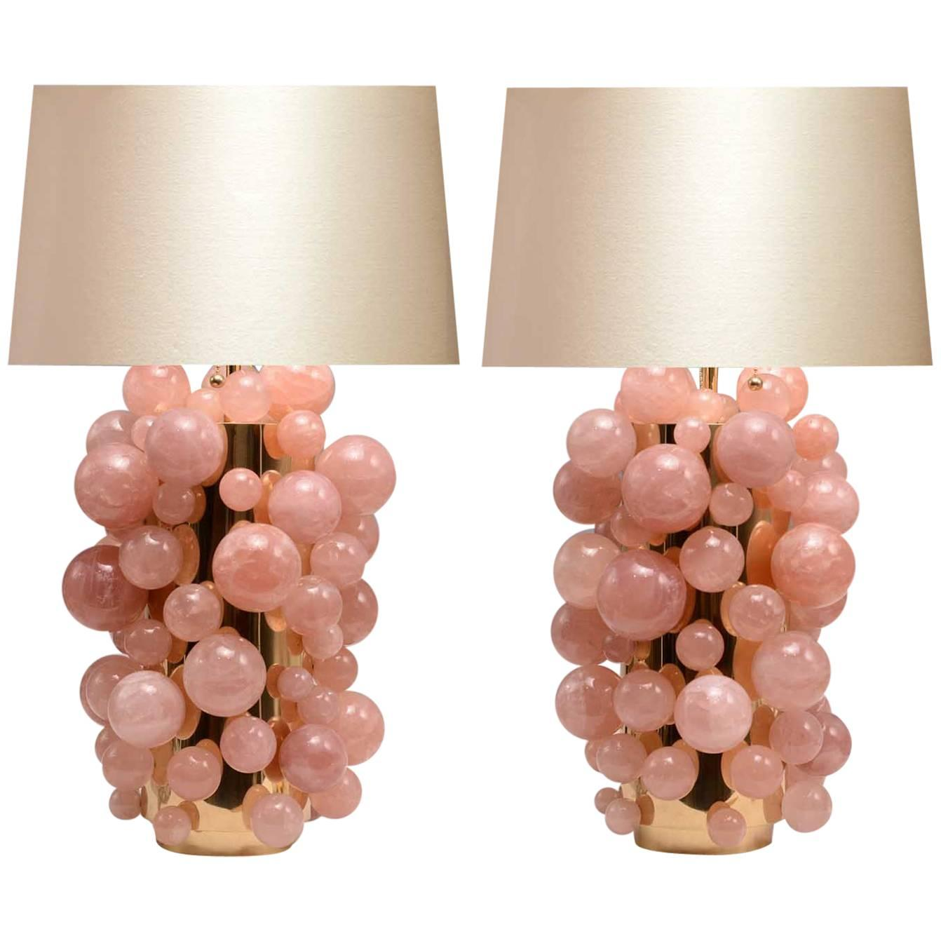 Pair Of Pink Rock Crystal Bubble Lamps For Sale