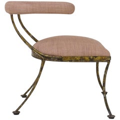 Gilt Metal Klismos Occasional Chair in Blush Pink