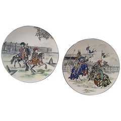 Pair of Large Longwy Medival Scene Painted, 1950s Chargers