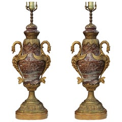 Pair French 19th Century Style Marble and Brass Lamps
