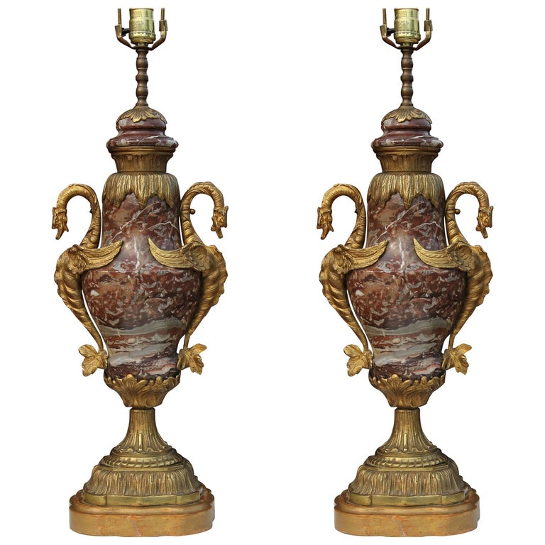 Pair French 19th Century Style Marble and Brass Lamps For Sale