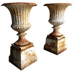 Beautiful Antique Pair of Garden Cast Iron Urns, circa 1900