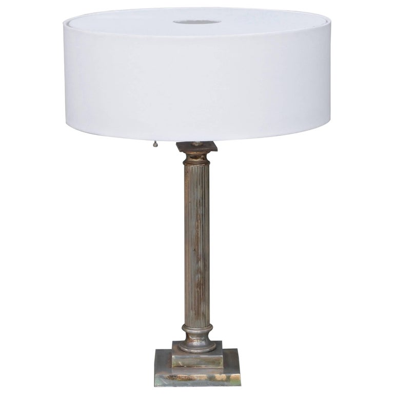 Chic Silvered Column Desk Lamp