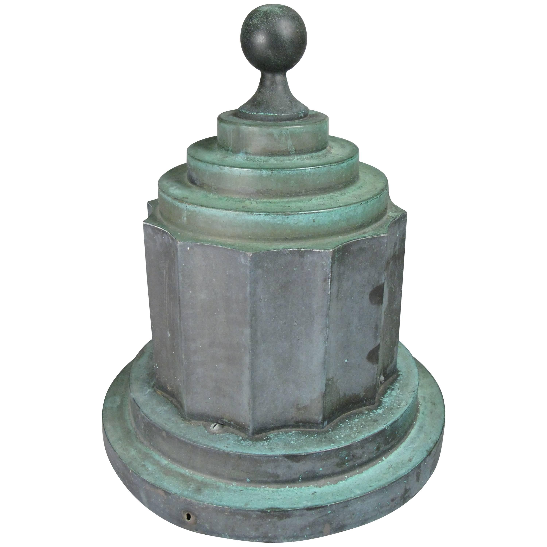 Antique Art Deco Patinated Copper Finial