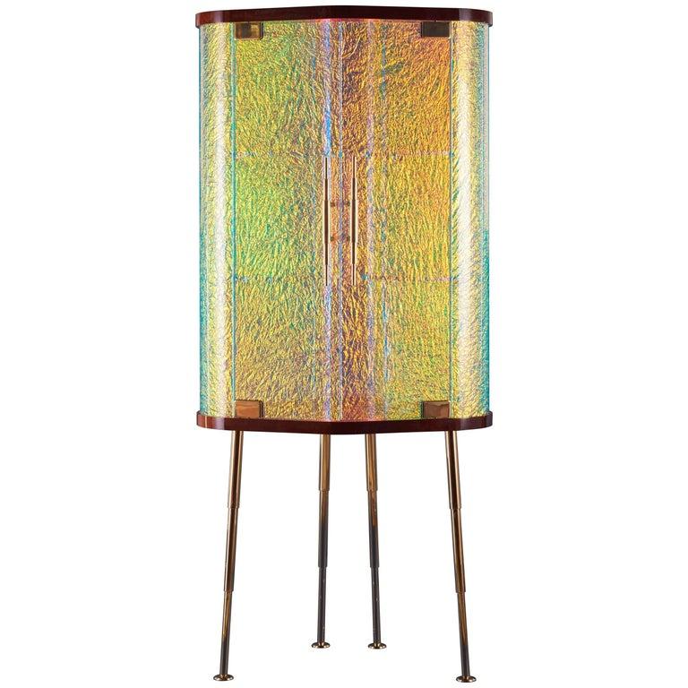 21st Century Custom Contemporary Honduran Mahogany Solid Brass Crazy Glass Bar For Sale