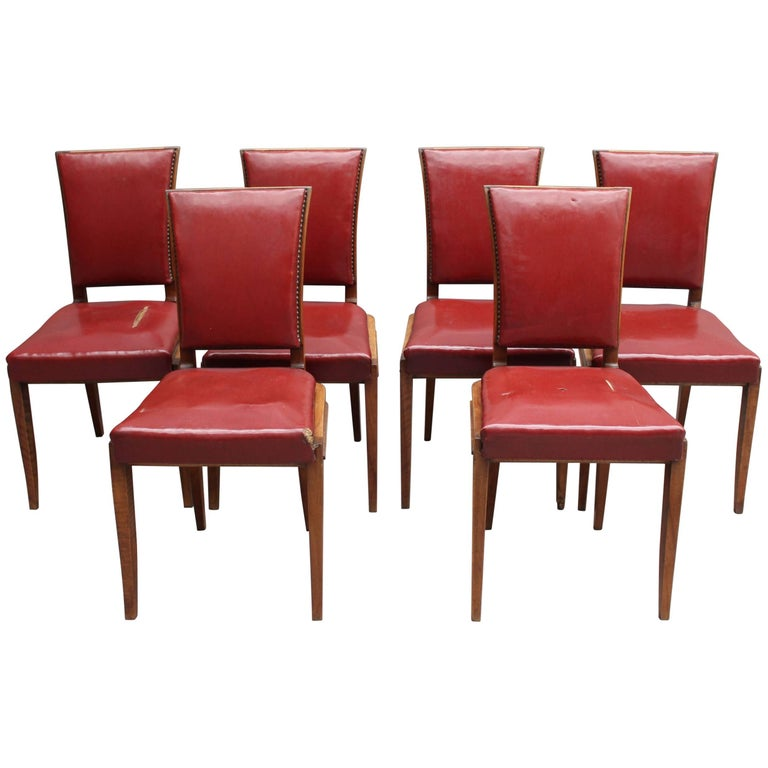 Set of Six Fine French Art Deco Walnut Dining Chairs by Maxime Old