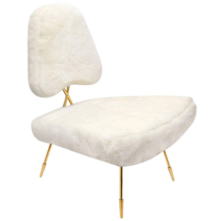 Maxime Shearling and Brass Lounge Chair