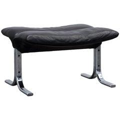 De Sede Designer Footstool Leather Black Chrome Footrest Pouff Modern