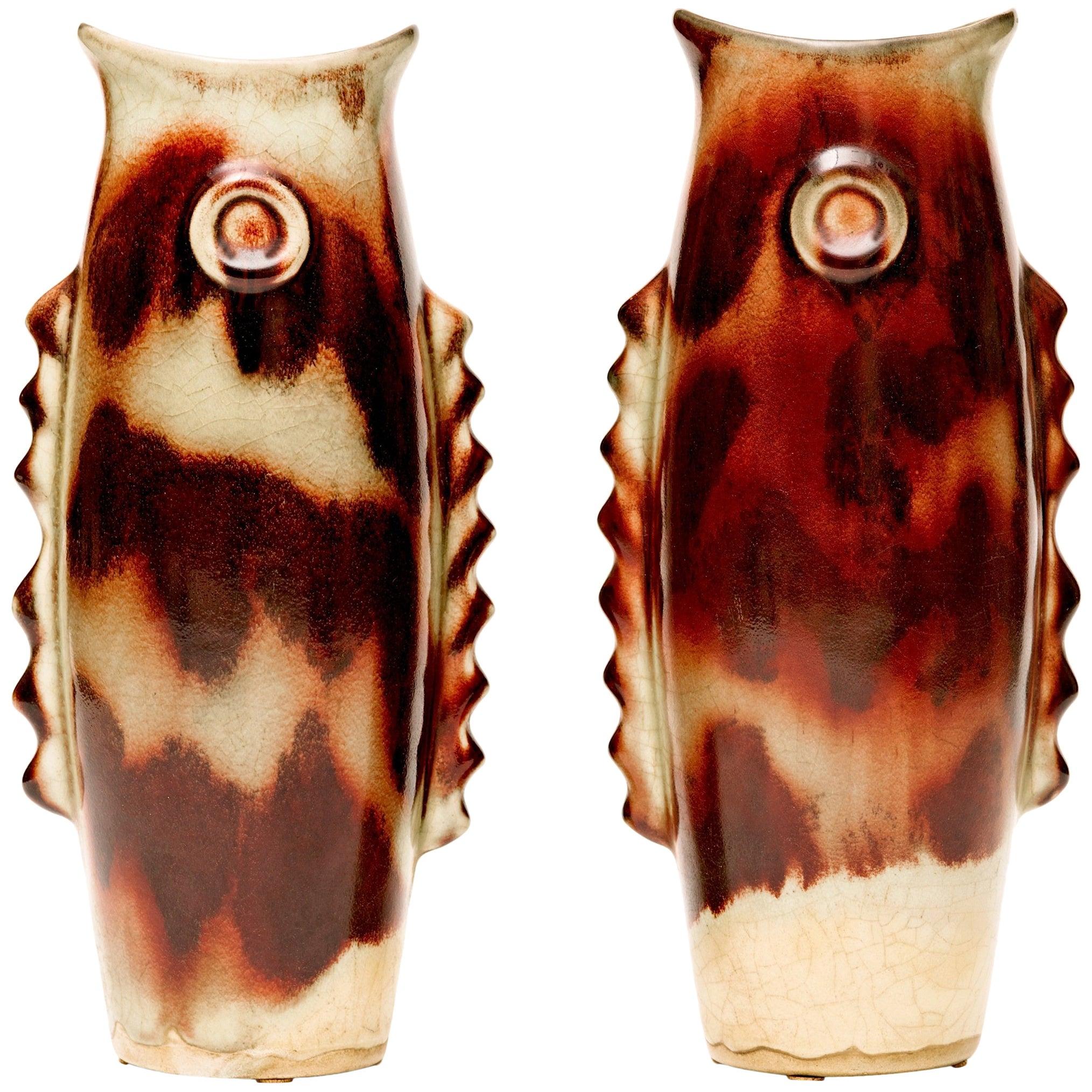 Art Deco Ceramic Fish Vases or Sculptures