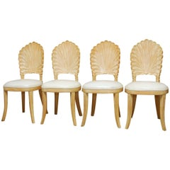 Set of Four Venetian Grotto Style Shell Back Dining Chairs