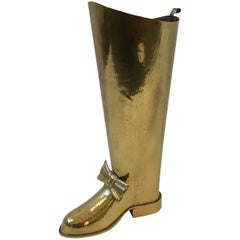 Spanish Brass Boot Umbrella Holder