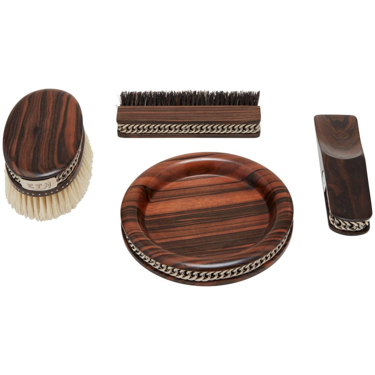 Hermès Wood and Sterling Silver Brush Set
