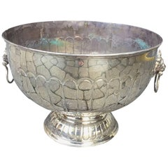 Large 20th Century Sheffield Punch Bowl, with Lion Pulls
