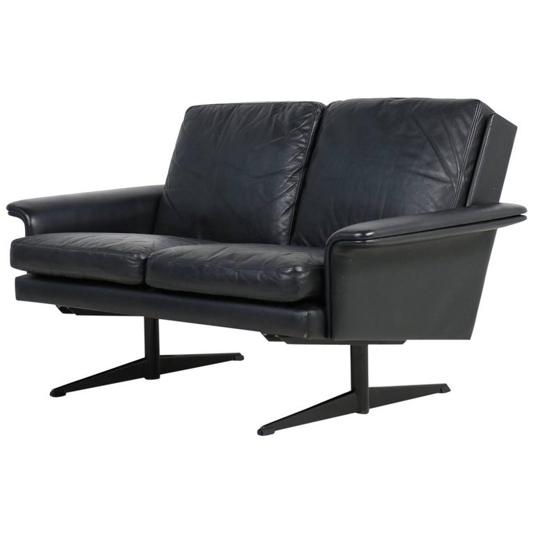 1960s Danish Modern Leather Sofa by H.W. Klein for Bramin Two-Seat Steel Legs