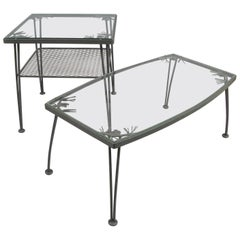 Pair of 1950s Wrought Iron 'Pinecrest' Tables by Woodard