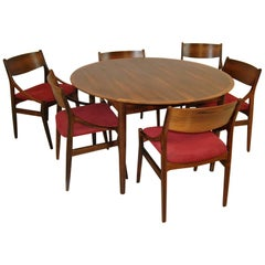 Danish Modern Rosewood Dining Table and Six Chairs by H. Vestervig Eriksen